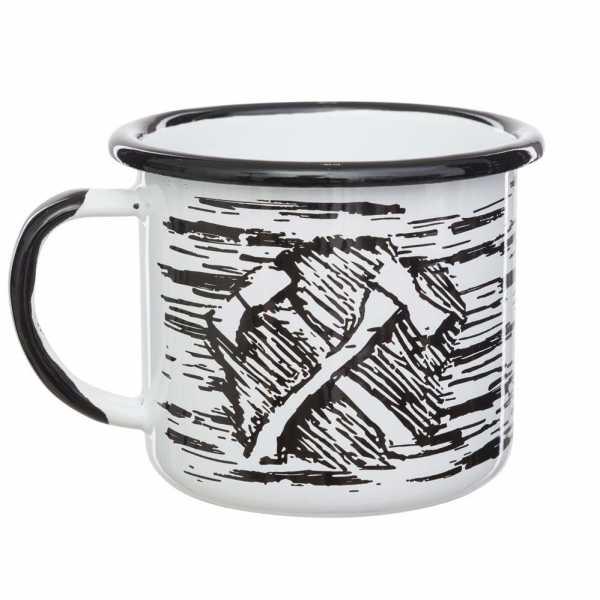 Emaille Tasse 0,35 AXE schwarz/weiß