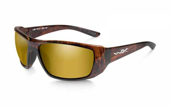 WX Kobe Polarized Amber Gold Mirror Gloss Hickory Brown Frame