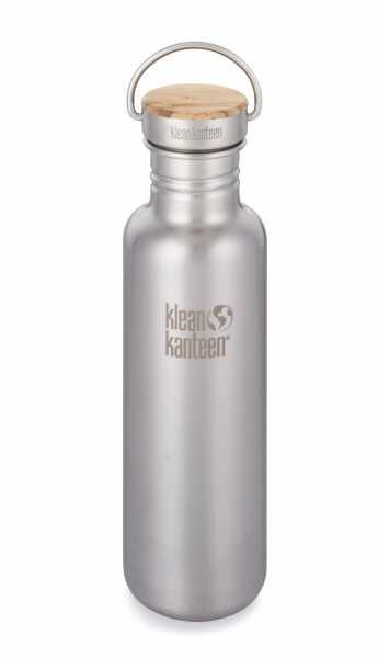 Edelstahl Trinkflasche 800ml, Bambus-Schraubverschluss